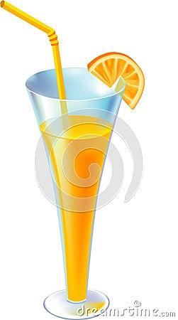 Free Ccocktail With Orange Segment And Straw Illustrati Stock Photography - 3529212