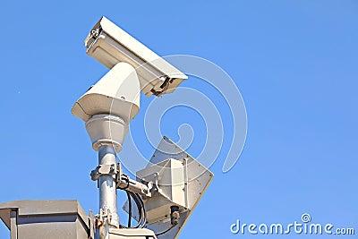 CCTV on blue sky