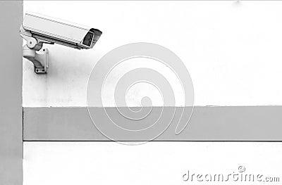 CCTV Camera mounted on wall (B&W Version)