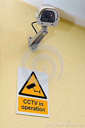 CCTV Camera and sign