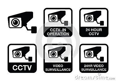 CCTV camera, Video surveillance icons set