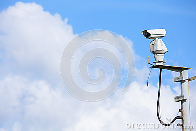 CCTV with cloudscape