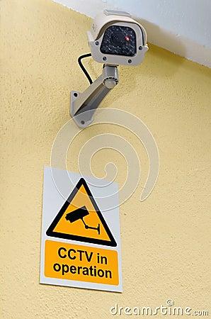 Cctv-kamera och tecken