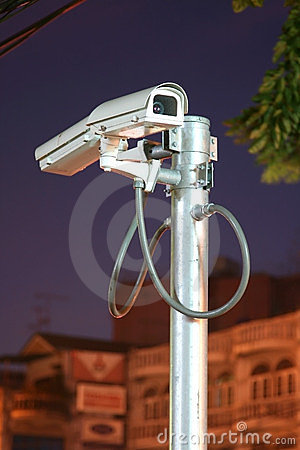 CCTV security cam on night background