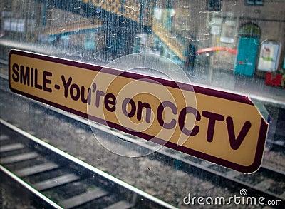 CCTV Sign On Train Window