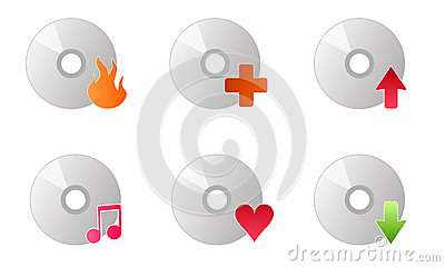Cd disc burner music icons vector