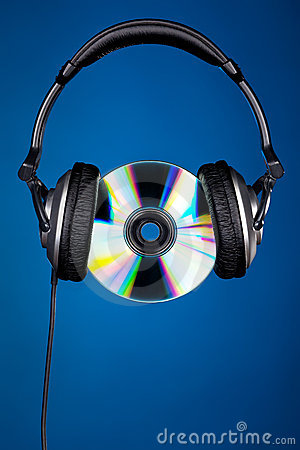 CD disc with headphones