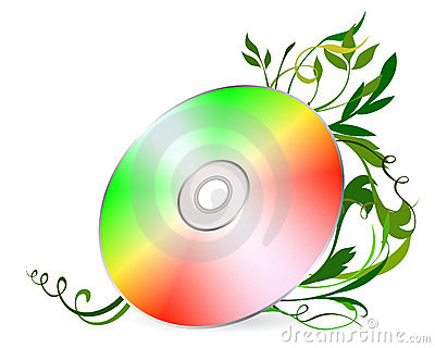 Cd-disk on floral background