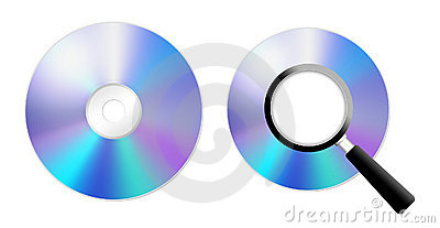 CD/DVD and agnifying glass
