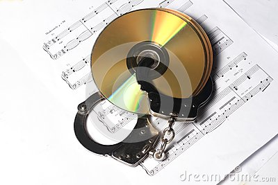 CD or DVD with musical note with handcuff