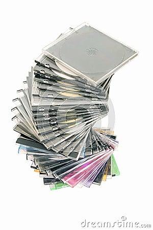 Cd dvd piled up