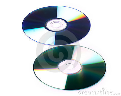 Cd and dvd white background