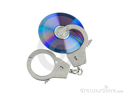 Cd with handcuffs isolated