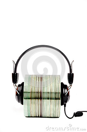 Cd with headphones clamped