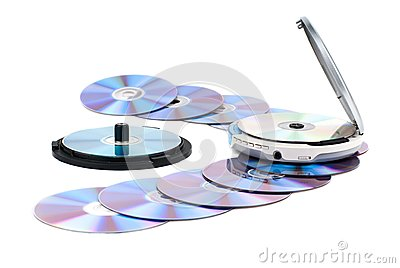 CD-player and CDs.