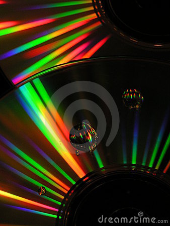 Cds with drops of water