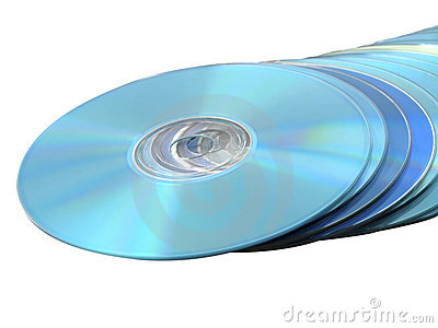 CDs DVDs Blu-ray Stack of Discs on White