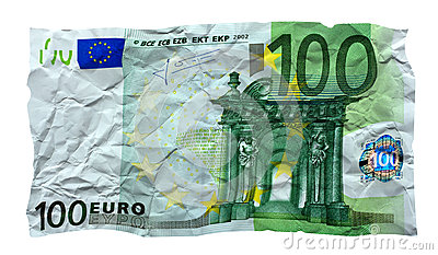 Cédula amarrotada do euro 100