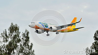 Cebu Pacific Airbus A320 with new sharklets landing at Changi Airport Editorial Photography