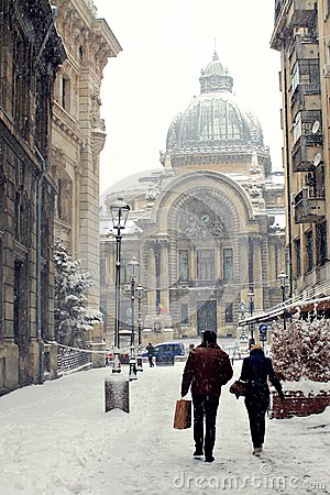 Free CEC Bank, Bucharest - Winter Time Royalty Free Stock Photos - 34656858