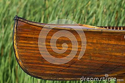 Cedar strip handmade canoe
