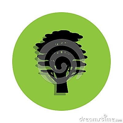 cedar tree in green badge icon Stock Photo