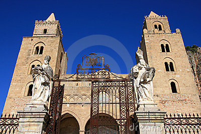 Cefalu cathedral on blue sky; Sicily