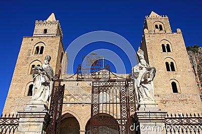 Cefalu cathedral on blue sky; Sicily