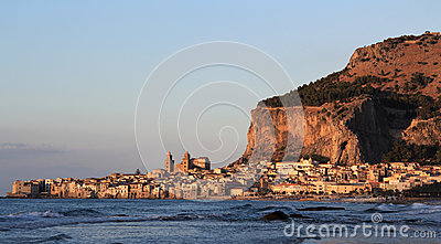 Cefalu  historical town and walled rock