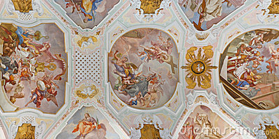 Ceiling Frescos at Baroque Church