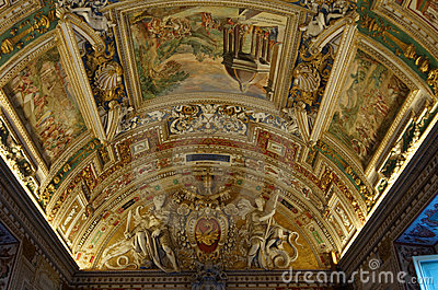 Ceiling in Gallery of Maps. Vatican Museums Editorial Image
