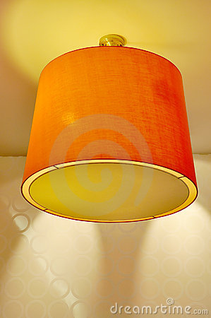 Ceiling Lamp with Orange Lampshade