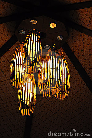Ceiling Light with Bamboo Cane Light Shade