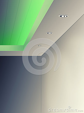 Free Ceiling Lighting Using LED Green Color Stock Photo - 58247900