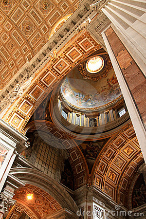 The ceiling painting of St Peter s Basilica