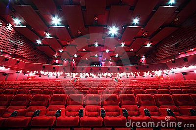 Ceiling and rows of chairs in cinema Stock Photo