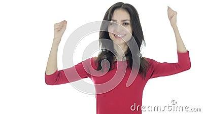 Celebración de éxito, fondo que anima y excitado, blanco de la mujer
