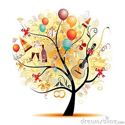 Celebração feliz, árvore engraçada com símbolos do feriado