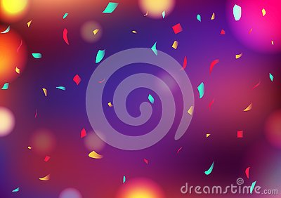 Celebrate party blurry colorful Bokeh abstract background decoration confetti falling, greeting card festival event concept vector Vector Illustration
