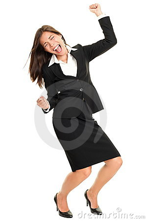 Celebrating business person dancing happy