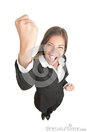 Celebrating businesswoman isolated