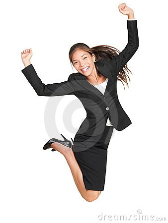 Celebrating businesswoman jumping