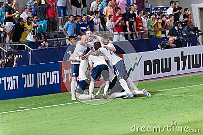 Celebrating a goal Editorial Photo