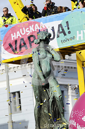 Celebrating Vappu (Walpurgis Night) in the center of Helsinki Ap Editorial Photography