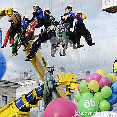 Celebrating Vappu (Walpurgis Night) in the center of Helsinki Ap Editorial Image