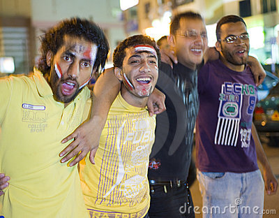 Celebrating victory for egypt in the africa cup Editorial Stock Image