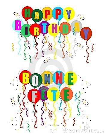 Bilingual balloons, streamers and confetti, for your Happy Birthday or ...