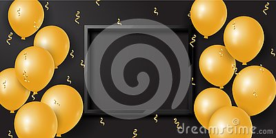 Celebration background with 3d golden balloons and serpentine and empty space. Vector Stock Photo