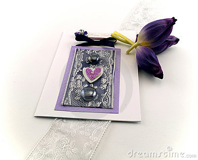 Celebration Card with Purple Tulips