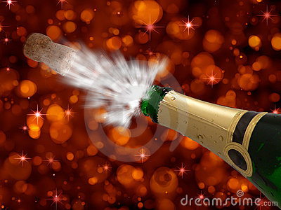 Celebration with champagne on party-happy new year